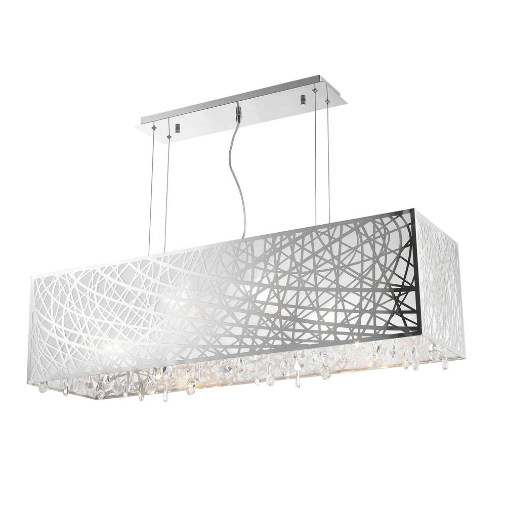 313f4cdf160 Worldwide Lighting. Julie 8-Light Chrome Rectangle Drum Chandelier with  Clear Crystal Shade