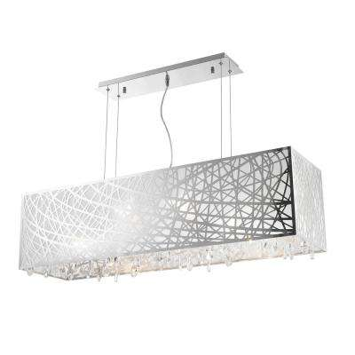 Julie 8-Light Chrome Rectangle Drum Chandelier with Clear Crystal Shade