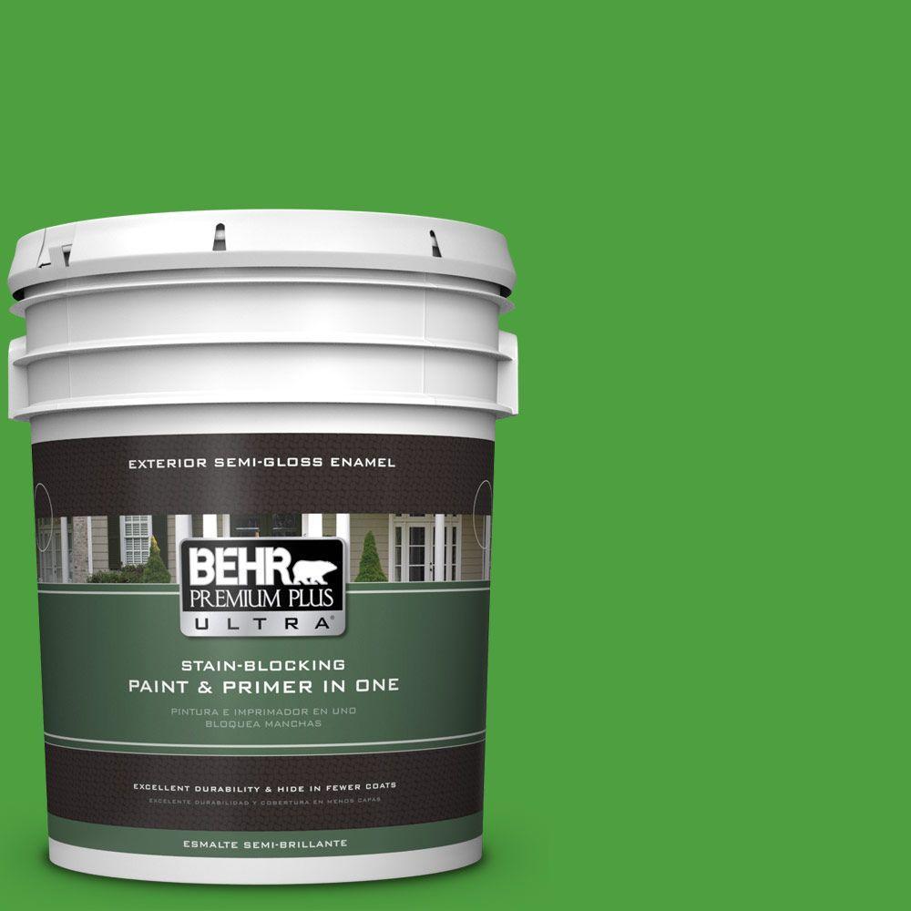 BEHR Premium Plus Ultra 5-gal. #S-G-440 Green Acres Semi-Gloss Enamel Exterior Paint