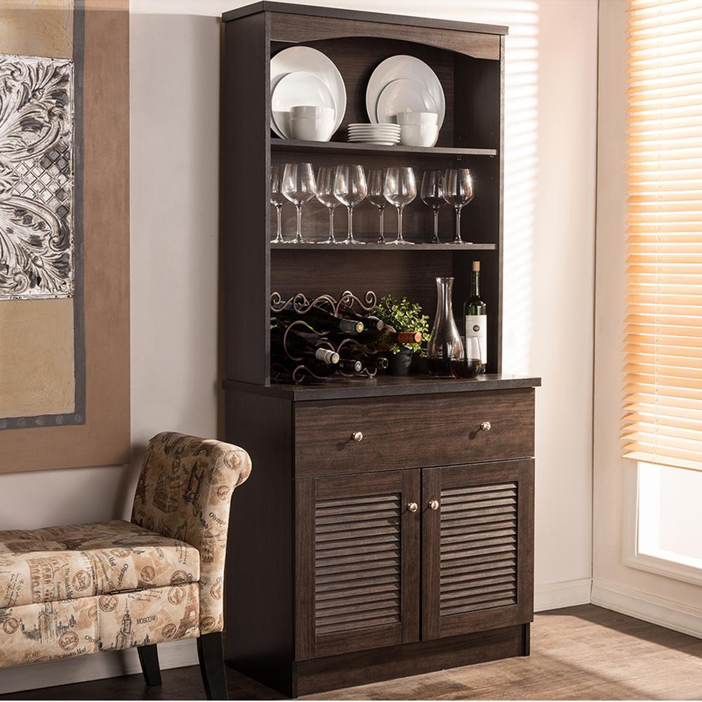 Baxton Studio Agni Dark Brown Wood Buffet With Hutch 28862 6493 Hd The Home Depot