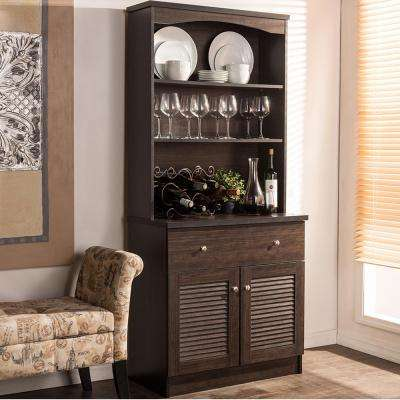 Agni Dark Brown Wood Buffet with Hutch