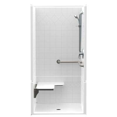 Accessible Diagonal Tile AcrylX 36 in. x 36 in. x 76 in. 4-Piece ADA Shower Stall with Left Seat and Grab Bars in White