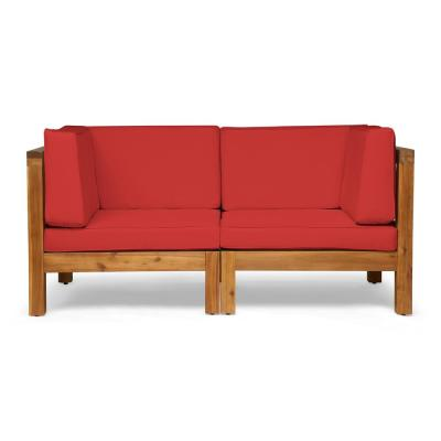 Brava Teak Brown 2-Piece Acacia Wood Outdoor Loveseat with Red Cushions