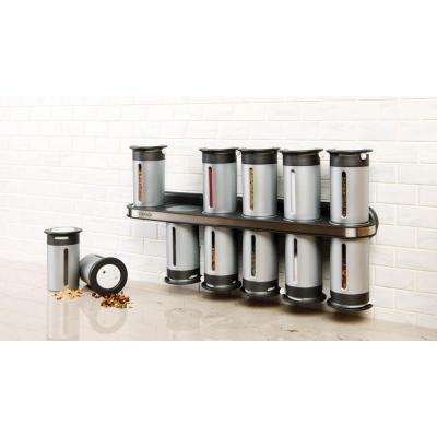 Zero Gravity 12-Canister Wall-Mount Magnetic Spice Rack in Metallic/Gray
