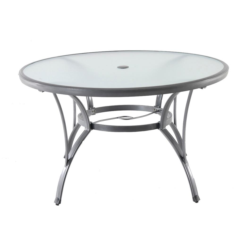 Hampton bay commercial grade aluminum grey round glass for Glass top outdoor dining table