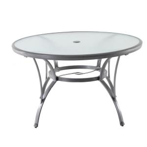 Hampton Bay Commercial Grade Aluminum Grey Round Glass Outdoor Dining Table Fta60762g The Home