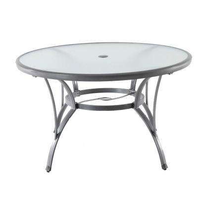 Round Outdoor Metal Table Intended Commercial Grade Aluminum Grey Round Glass Outdoor Dining Table Patio Tables The Home Depot