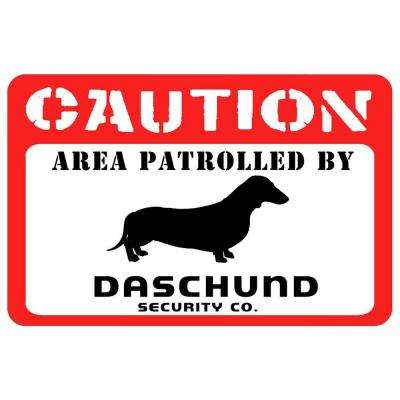 Printed Caution: Dachshund 17.5 in. x 26.5 in. Pet Mat