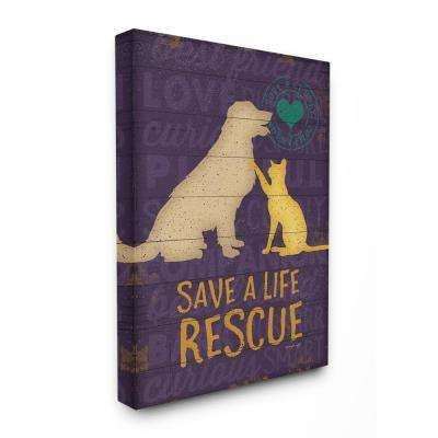 "24 in. x 30 in. ""Save A Life Rescue Dog And Cat Silhouette"" by Jennifer Pugh Canvas Wall Art"