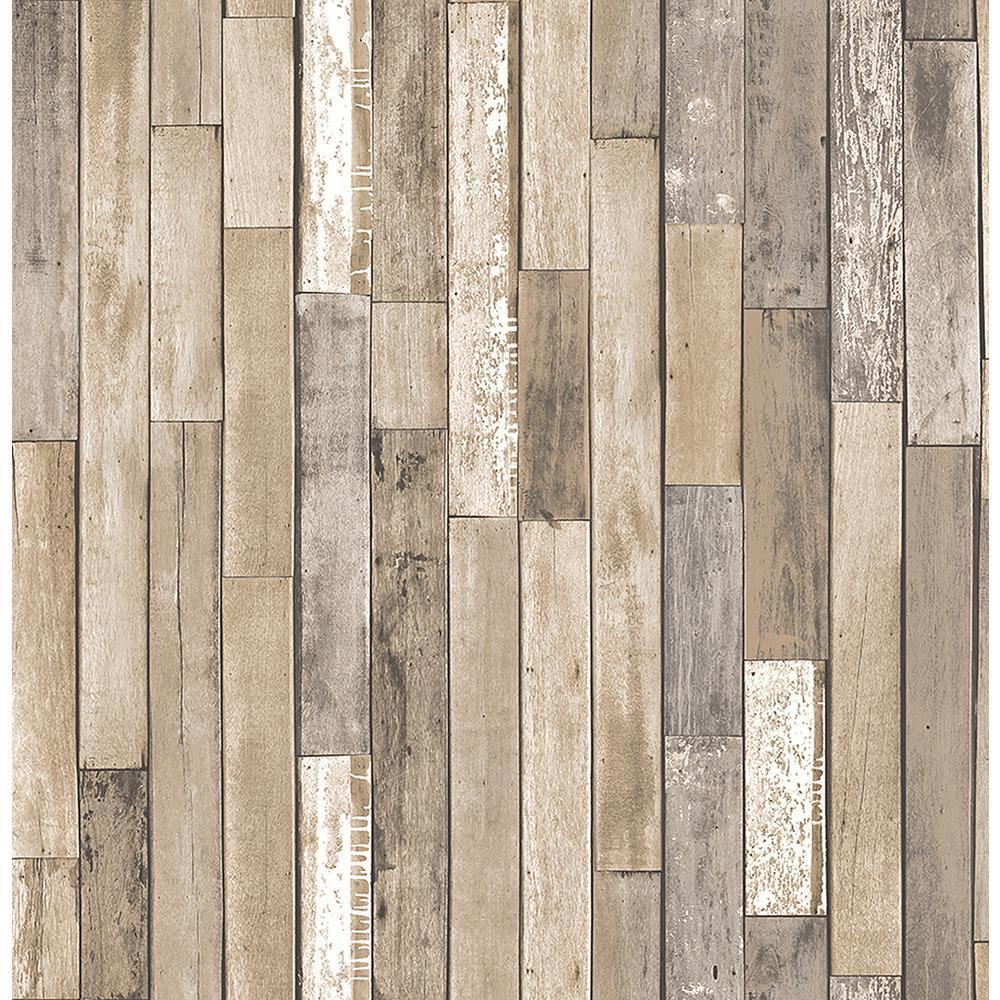 Brewster Barn Board Brown Thin Plank Wallpaper