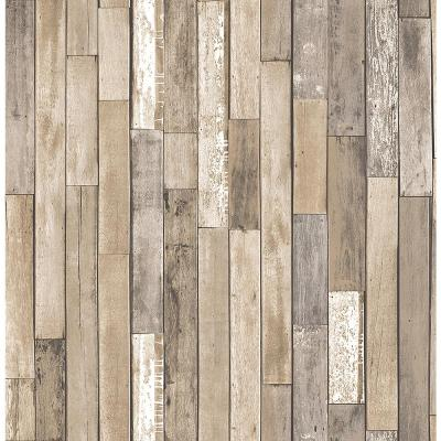 Barn Board Brown Thin Plank Wallpaper