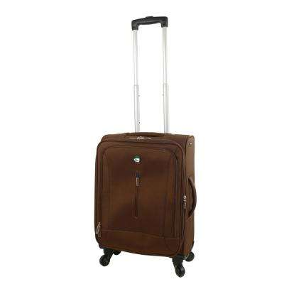 Tena 20 in. Brown Carry-On Soft Side Spinner Suitcase
