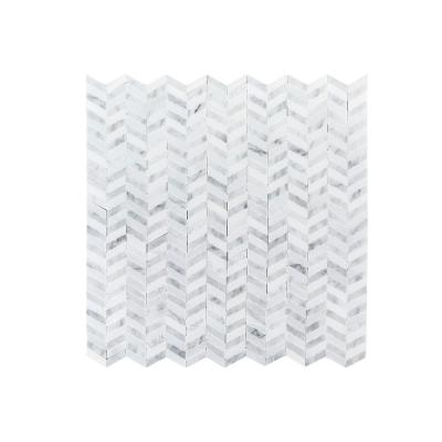 Lakeview White 12 in. x 12 in. x 8 mm Chevron Polished Natural Stone Wall and Floor Mosaic Tile
