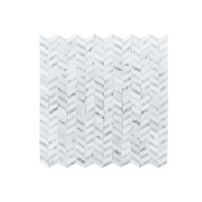 Lakeview White Chevron 12 in. x 12 in. x 8mm Polished Natural Stone Mosaic Wall/Floor Tile