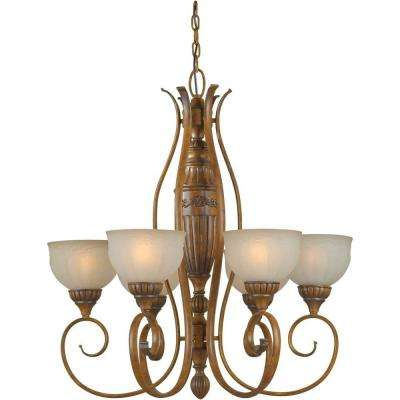 6-Light Rustic Sienna Bronze Chandelier with Patterned Shaded Umber Glass