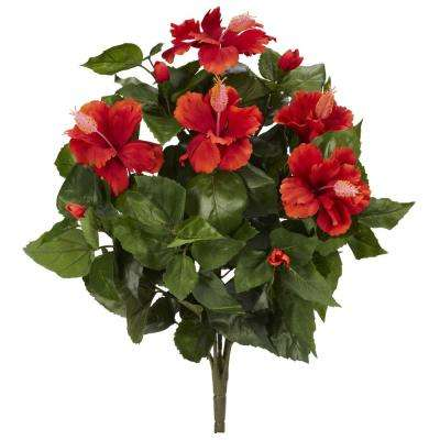 Indoor 20 in. Hibiscus Artificial Plant (4-Set)