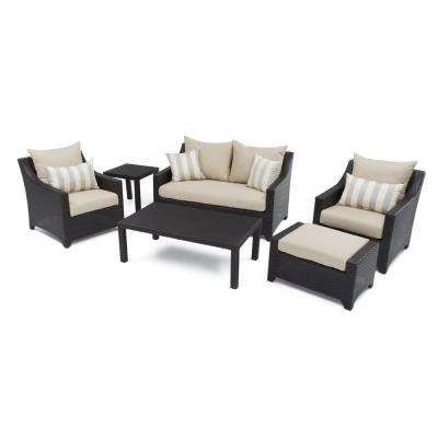 Deco 6-Piece Patio Seating Set with Slate Grey Cushions