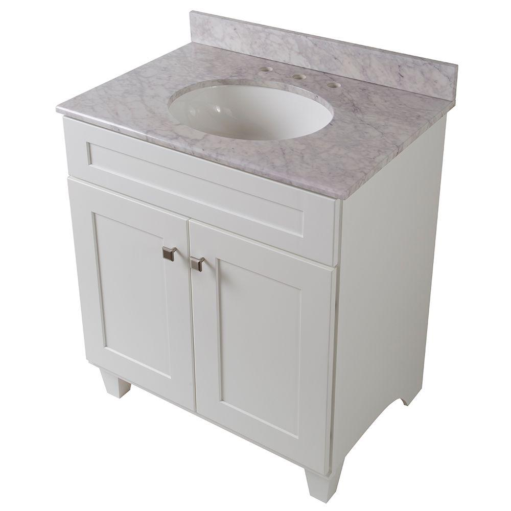Home Decorators Collection Creeley 31 in. Vanity in Classic White with Stone Effects Vanity Top in Carrera