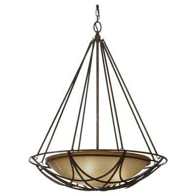 El Nido 3-Light Mocha Bronze Uplight Chandelier with Glass Shade