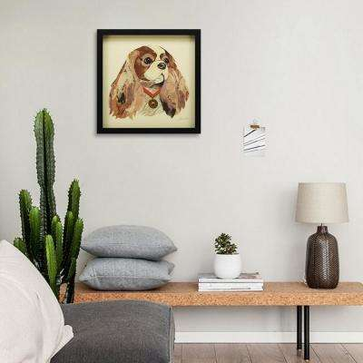 "17 in. x 17 in. ""King Charles Spaniel"" Dimensional Collage Framed Graphic Art Under Glass Wall Art"