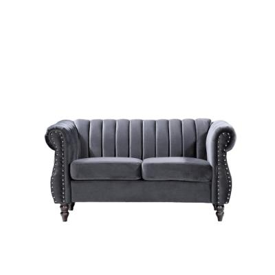 Louis 59.1 in. Grey Channel Tufted Velvet 2-Seater Loveseat with Nailheads