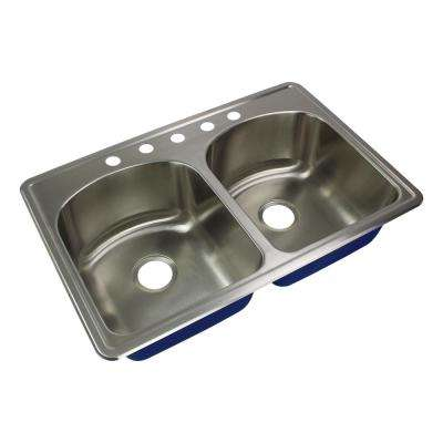 Meridian Drop-In Stainless Steel 33 in. 5-Hole 50/50 Double Bowl Kitchen Sink in Brushed Stainless Steel