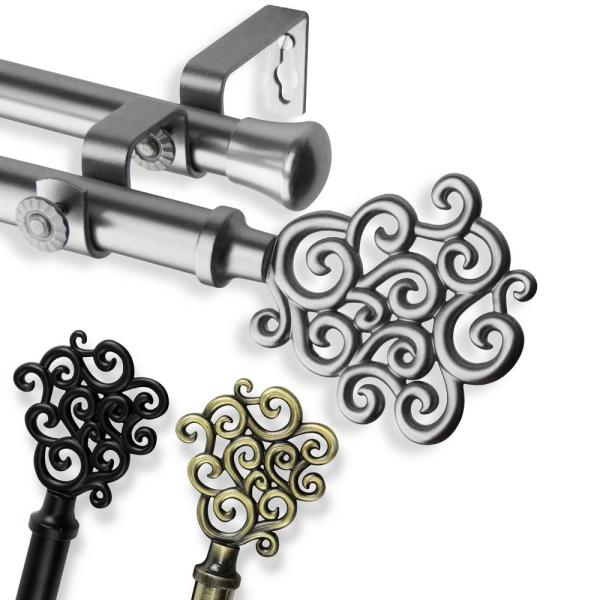 120 in. - 170 in. Telescoping Double Curtain Rod in Black with Tidal Finial