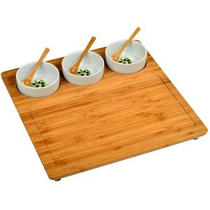 Bamboo Serving Platter with 3 Ceramic Bowls by