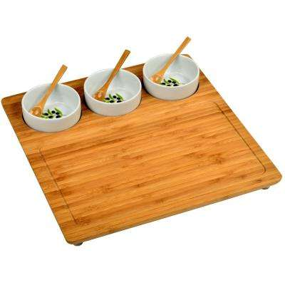Bamboo Serving Platter with 3 Ceramic Bowls