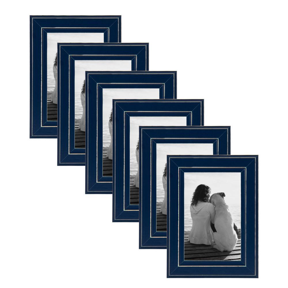 designovation kieva 4x6 navy blue picture frame set of 6 213696 the home depot. Black Bedroom Furniture Sets. Home Design Ideas