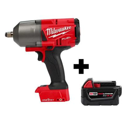 M18 FUEL ONE-KEY 18-Volt Lithium-Ion Brushless Cordless 1/2 in. Impact Wrench w/ Friction Ring, Free M18 5.0 Ah Battery