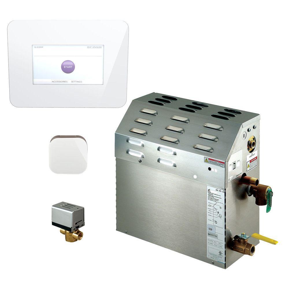 6kW Steam Bath Generator with iSteam 2.0 AutoFlush Package in White