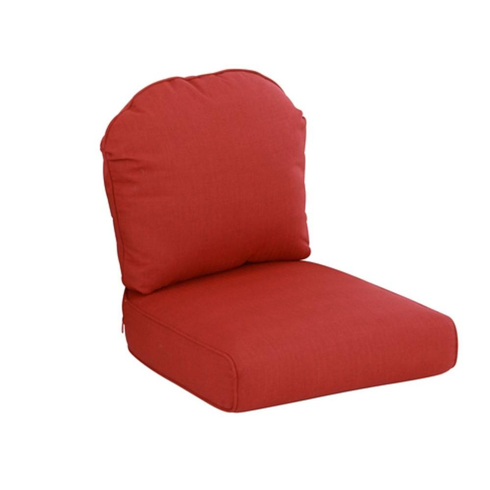 Hampton Bay Walnut Creek Red Replacement Outdoor Lounge Chair Cushion (2-Pack)