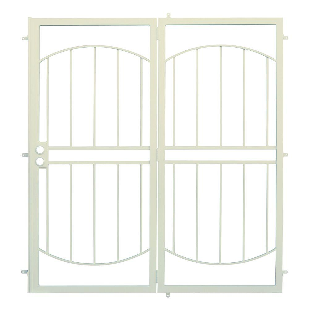 Unique Home Designs 72 in. x 80 in. Arcada Navajo White Projection Mount Outswing Steel Patio Security Door with No Screen