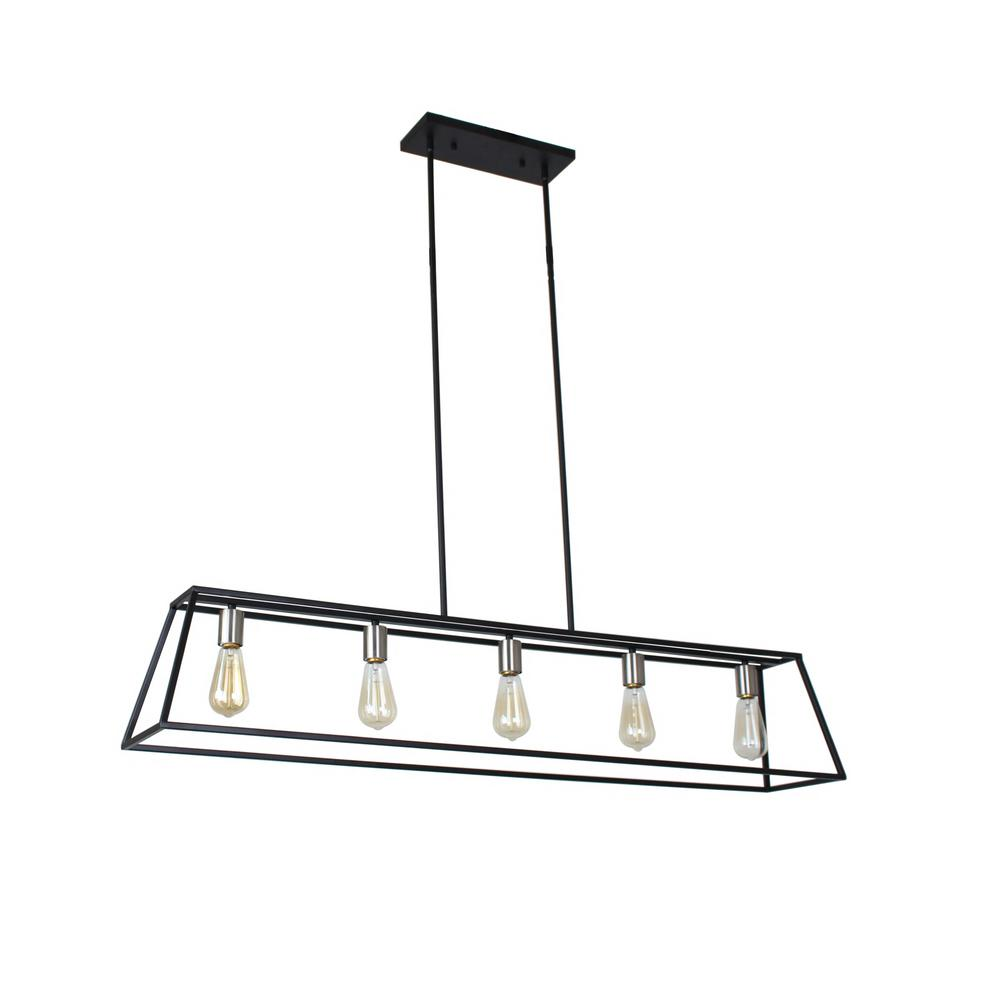 Sarah Collection 5-Light Black and Satin Nickel Chandelier