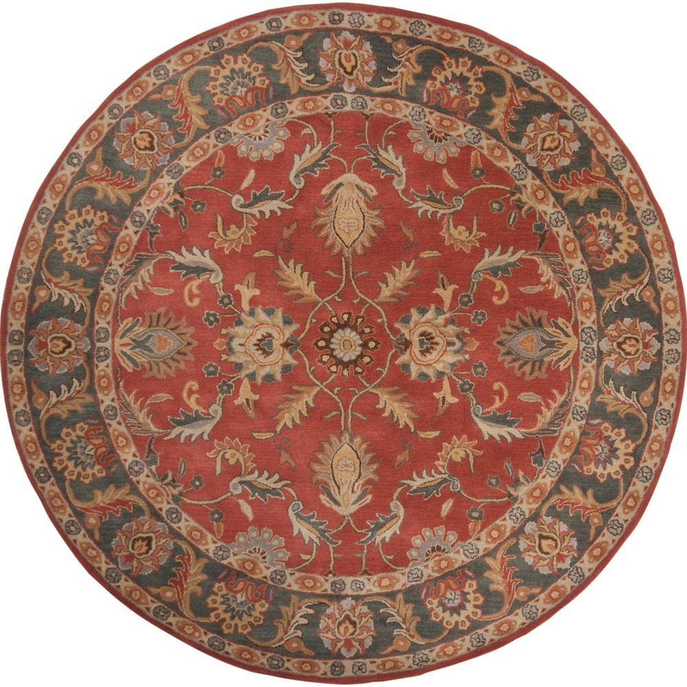 John Rust Red 4 ft. x 4 ft. Round Area Rug