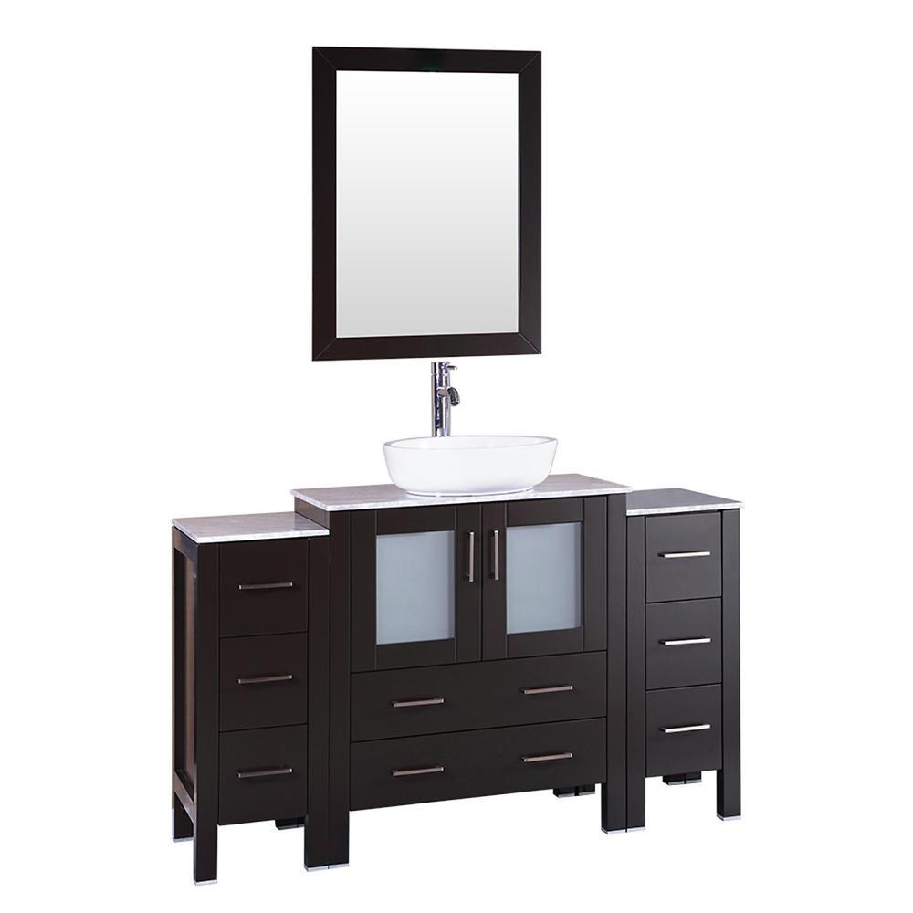 54 in. W Single Bath Vanity with Carrara Marble Vanity Top