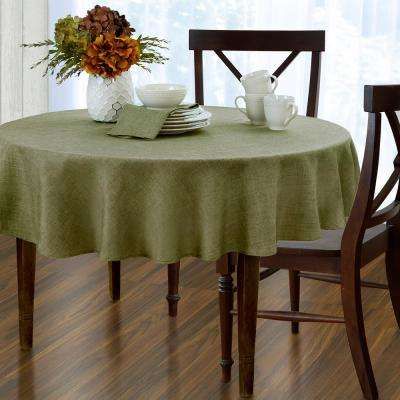 70 in. Round Green Elrene Pennington Damask Fabric Tablecloth