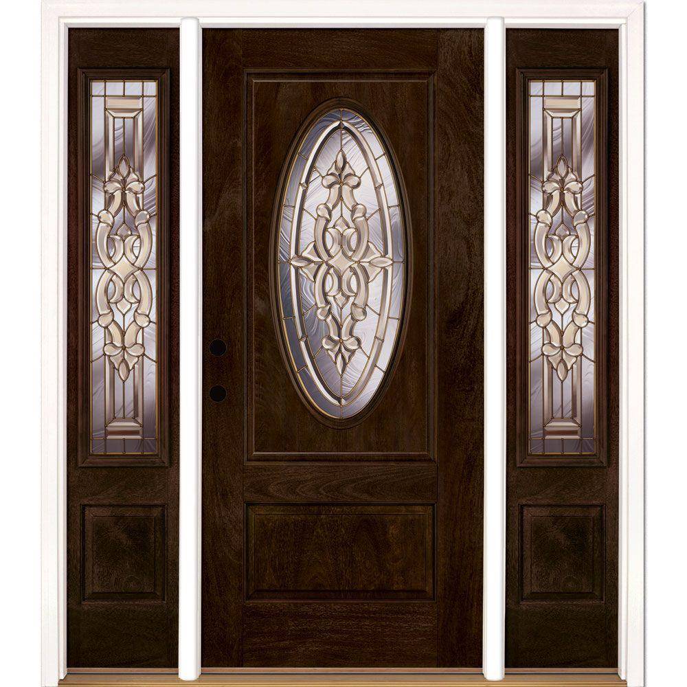 Feather River Doors 63.5 in.x81.625in.Silverdale Brass 3/4 Oval Lt Stained Chestnut Mahogany Rt-Hd Fiberglass Prehung Front Door w/ Sidelite