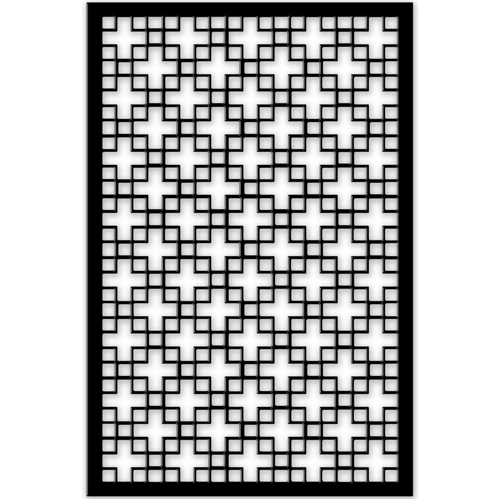 Chinese Square 32 in. x 4 ft. Black Vinyl Decorative Screen
