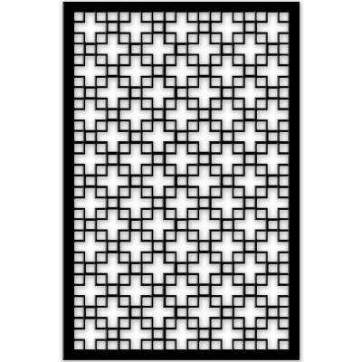Chinese Square 32 in. x 4 ft. Black Vinyl Decorative Screen Panel