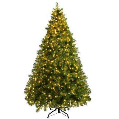 7 ft. Pre-Lit LED Dense PVC Hinged Christmas Tree Spruce with 700-Lights and Stand