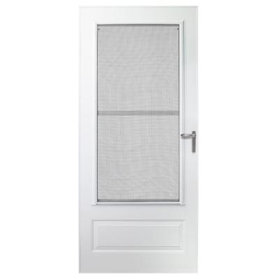 30 in. x 78 in. 300 Series White Universal Triple-Track Aluminum Storm Door with Nickel Hardware