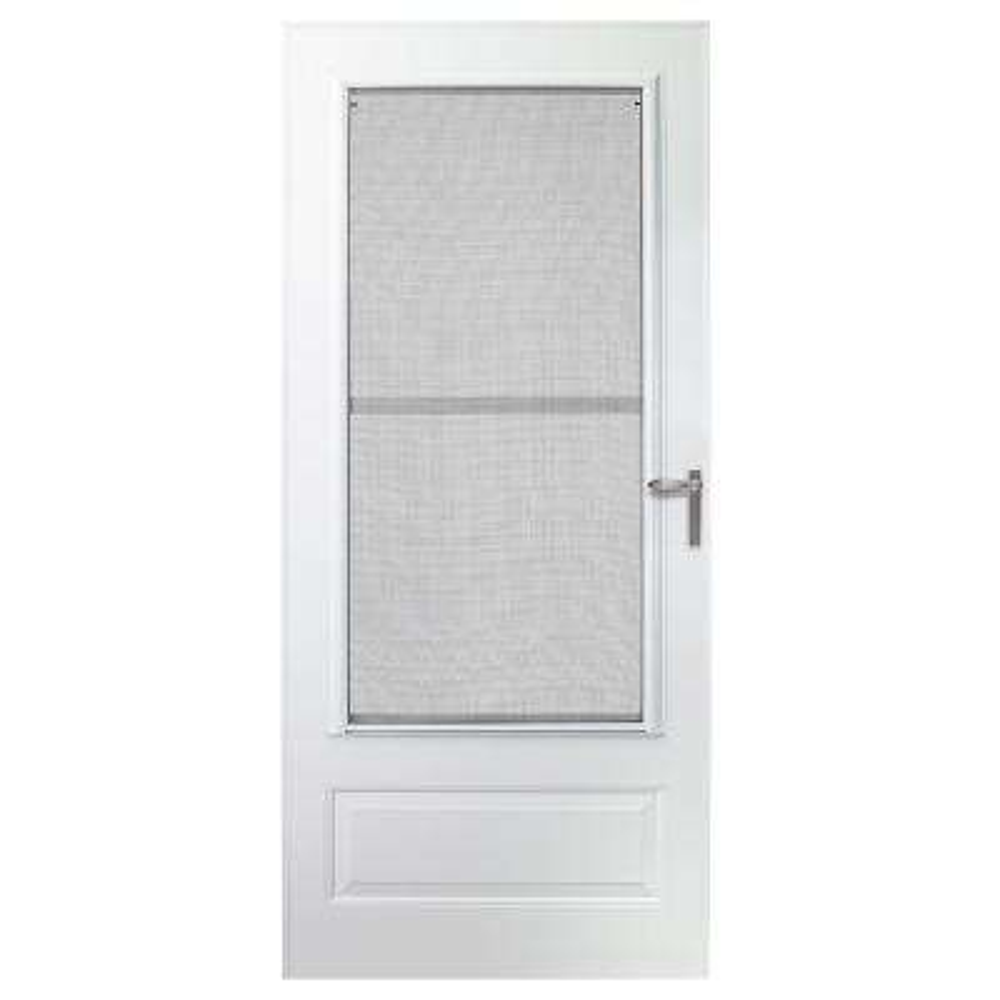 30 in. x 78 in. 300 Series White Universal Triple-Track Aluminum Storm Door with Nickel Hardware