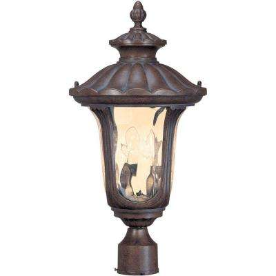 2-Light Outdoor Fruitwood Mid-Size Post Lantern with Amber Water Glass