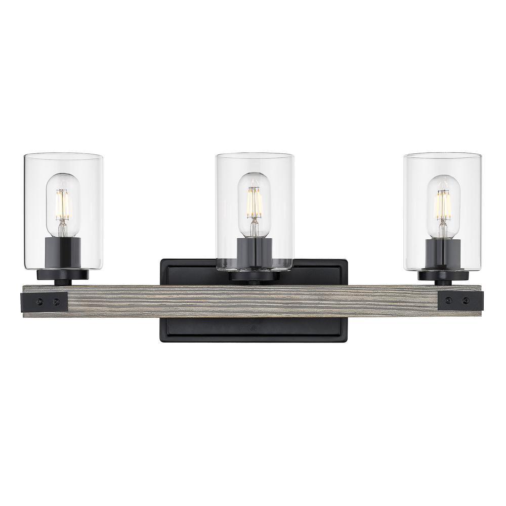 Lowell 10 in. 3-Light Matte Black Vanity Light