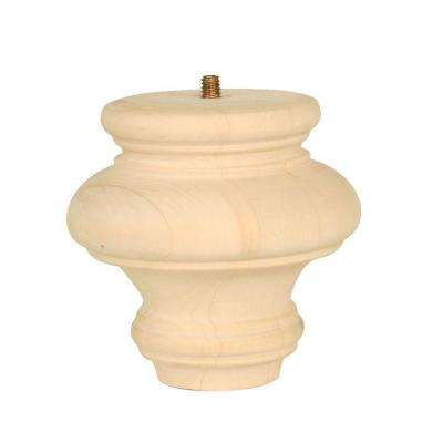 Bun Foot 4 in. x 4 in. x 4 in. Natural Unfinished Basswood