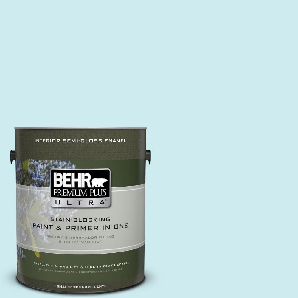 BEHR Premium Plus Ultra 1-gal. #510A-2 Salty Tear Semi-Gloss Enamel Interior Paint, Blues