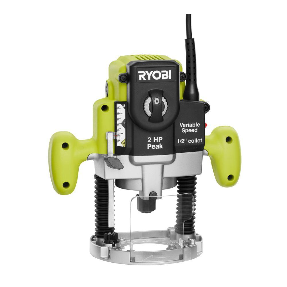 Ryobi 10 amp 2 hp plunge base router re180pl1g the home depot ryobi 10 amp 2 hp plunge base router greentooth Image collections
