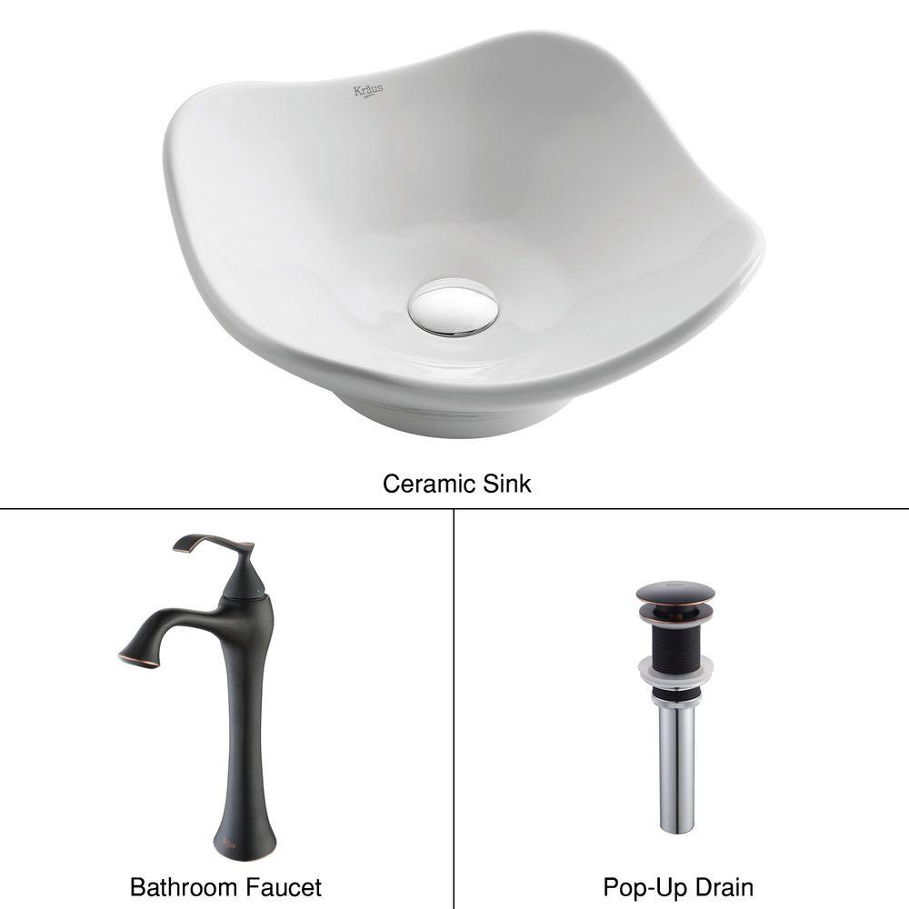 KRAUS Tulip Ceramic Vessel Sink in White with Ventus Faucet in Oil Rubbed Bronze